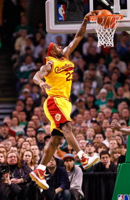 BOSTON, MA - MARCH 6: LeBron James #23 of the Cleveland Cavaliers scores against the Boston Celtics at the TD Banknorth Garden on March 6, 2009 in Boston, Massachusetts. NOTE TO USER: User expressly acknowledges and agrees that, by downloading and/or usin