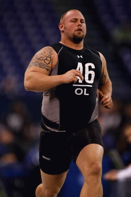 INDIANAPOLIS, IN - FEBRUARY 21:  Offensive lineman AQ Shipley of Penn State runs the 40 yard dash during the NFL Scouting Combine presented by Under Armour at Lucas Oil Stadium on February 21, 2009 in Indianapolis, Indiana. (Photo by Scott Boehm/Getty Ima