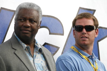 FORT MITCHELL, KY - JUNE 17:  Carson Palmer,  quarterback of the Cincinnati Bengals, and basketball legend Oscar Robertson look on prior to the NASCAR Busch Series Meijer 300 on June 17, 2006 at the Kentucky Speedway in Fort Mitchell, Kentucky.  (Photo by