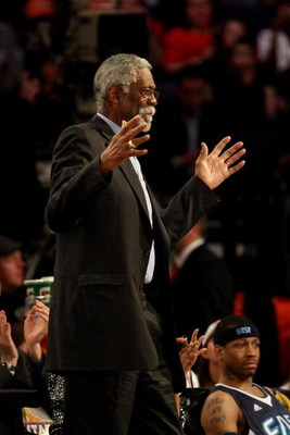 PHOENIX - FEBRUARY 15:  NBA legend Bill Russell is presented with a birthday cake during the 58th NBA All-Star Game, part of 2009 NBA All-Star Weekend at US Airways Center on February 15, 2009 in Phoenix, Arizona.  NOTE TO USER: User expressly acknowledge