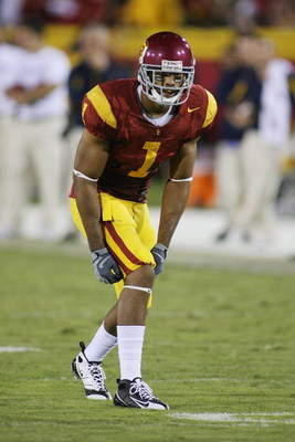 LOS ANGELES - NOVEMBER 8:  Patrick Turner #1 of the USC Trojans lines up against the California Bears on November 8, 2008 at the Los Angeles Memorial Coliseum in Los Angeles, California.  USC won 17-3.  (Photo by Jeff Golden/Getty Images)