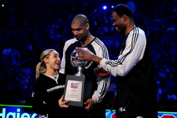 NEW ORLEANS - FEBRUARY 16:  WNBA player Becky Hammon of the San Antonio Silver Stars, Tim Duncan of the San Antonio Spurs and NBA legend David Robinson pose with the championship trophy after winning the Haier Shooting Stars competition, part of 2008 NBA