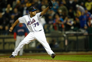 NEW YORK - APRIL 03:  Pitcher Francisco Rodriguez  #75 of the New York Mets pitches during an exhibition game against the Boston Red Sox on April 3, 2009 at Citi Field in the Flushing neighborhood of the Queens borough of New York City. The game marks the