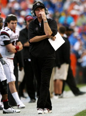GAINESVILLE, FL - NOVEMBER 15:  Head coach Steve Spurrier of the South Carolina Gamecocks reacts after his team fell behind by 21 points in the first quarter against the Florida Gators at Ben Hill Griffin Stadium on November 15, 2008 in Gainesville, Flori