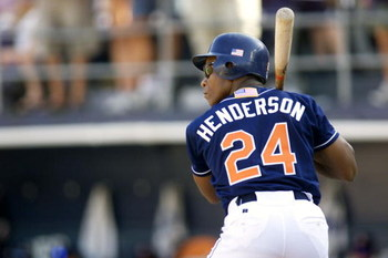 7 Oct 01:   San Diego Padres outfielder Rickey Henderson #24 awaits the pitch that he would double on for his 3000th hit versus the Colorado Rockies in their game at Qualcomm Stadium in San Diego, California.  The Rockies won 14-5.  DIGITAL IMAGE Mandator