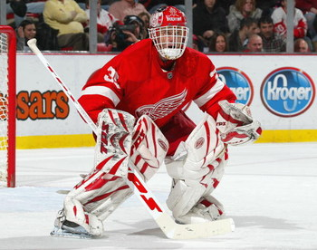 DETROIT - DECEMBER 7:  Dominic Hasek #39 of the Detroit Red Wings waits for a shot in a game against the Minnesota Wild on December 7, 2007 at the Joe Louis Arena in Detroit, Michigan. The Red Wings defeated the Wild 5-0. (Photo by Claus Andersen/Getty Im