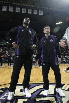 SACRAMENTO, CA - APRIL 30:  (Left to Right) Karl Malone #32 stands next to John Stockton #12 of the Utah Jazz before Game five of the Western Conference Quarterfinals against the Sacramento Kings during the 2003 NBA Playoffs at Arco Arena on April 30, 200