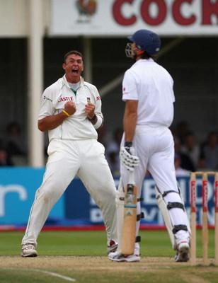 BIRMINGHAM, UNITED KINGDOM - AUGUST 01:  Andre Nel of South Africa celebrates taking the wicket of Michael Vaughan of England during day 3 of the 3rd Test Npower Test Match between England and South Africa at Edgbaston on August 1, 2008 in Birmingham, Eng