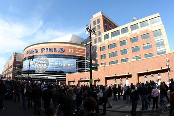 DETROIT - APRIL 04:  A general view of the outside of Ford Field before the start of the National Semifinal games of the NCAA Division I Men's Basketball Championship on April 4, 2009 in Detroit, Michigan.  (Photo by Gregory Shamus/Getty Images)