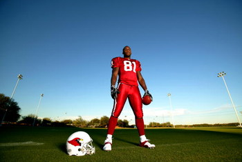 TEMPE, AZ - NOVEMBER 30:  Wide Receiver Anquan Boldin #81 of the Arizona Cardinals poses during a portrait session at Cardinals Training Facility on November 30, 2004 in Tempe, Arizona.  (Photo by Donald Miralle/Getty Images)