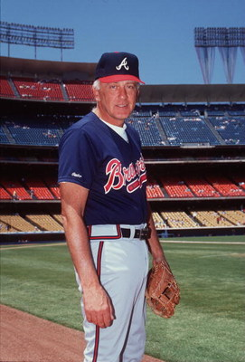1990:  Phil Niekro of the Atlanta Braves poses for a portrait in his uniform on the field of Fulton County stadium in Atlanta, Georgia. Mandatory Credit: Ken Levine/Allsport