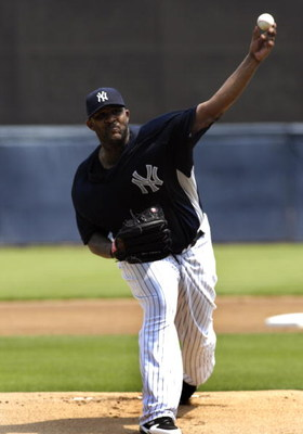 TAMPA, FL - APRIL 01:  Pitcher CC Sabathia #52 of the New York Yankees starts against the Philadelphia Phillies at George Steinbrenner Field April 1, 2009 in Tampa, Florida.  (Photo by Al Messerschmidt/Getty Images)