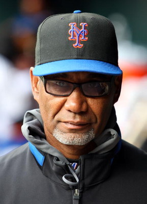 NEW YORK - APRIL 04:  Manager Jerry Manuel of the New York Mets looks on against the Boston Red Sox on April 4, 2009 at Citi Field in the Flushing neighborhood of the Queens borough of New York City.  (Photo by Jim McIsaac/Getty Images)
