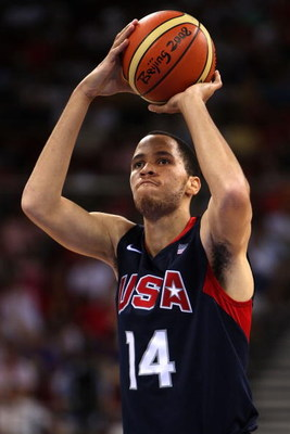 BEIJING - AUGUST 16:  Tayshaun Prince #14 of the United States shoots a free throw while taking on Spain during the group B preliminary basketball game at the Beijing Olympic Basketball Gymnasium on Day 8 of the Beijing 2008 Olympic Games on August 16, 20