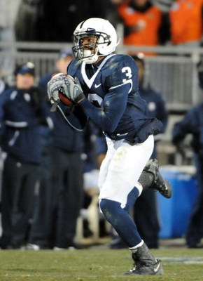 STATE COLLEGE - NOVEMBER 22:  Deon Butler #3 of the Penn State Nittany Lions pulls in a pass against the Michigan State Spartans on November 22, 2008 at Beaver Stadium in State College, Pennsylvania.  (Photo by Joe Sargent/Getty Images)