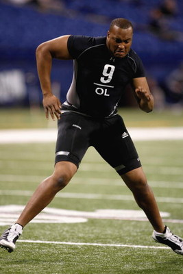 INDIANAPOLIS, IN - FEBRUARY 21:  Offensive lineman Gerald Cadogan of Penn State runs in practice drills during the NFL Scouting Combine presented by Under Armour at Lucas Oil Stadium on February 21, 2009 in Indianapolis, Indiana. (Photo by Scott Boehm/Get