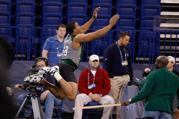 INDIANAPOLIS, IN - FEBRUARY 23:  Defensive lineman Jarron Gilbert of San Jose State jumps in the broad jump during the NFL Scouting Combine presented by Under Armour at Lucas Oil Stadium on February 23, 2009 in Indianapolis, Indiana. (Photo by Scott Boehm
