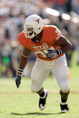 AUSTIN, TX - NOVEMBER 8:  Henry Melton #37 of the Texas Longhorns runs up the field during the game against the Baylor Bears on November 8, 2008 at Darrell K Royal-Texas Memorial Stadium in Austin, Texas.  Texas won 45-21. (Photo by Brian Bahr/Getty Image