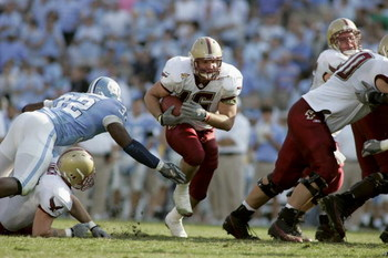 CHAPEL HILL, NC - NOVEMBER 5:  Linebacker Brian Toal #16 of the Boston College Eagles rushes against the North Carolina Tar Heels at Kenan Stadium on November 5, 2005 in Chapel Hill, North Carolina. North Carolina won 16-14.  (Photo By Grant Halverson/Get