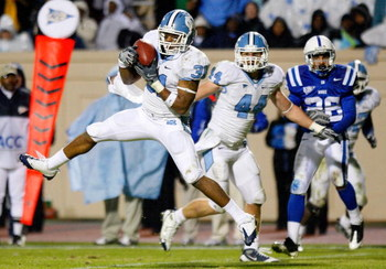 DURHAM, NC - NOVEMBER 29:  Trimane Goddard #31 of the North Carolina Tar Heels intercepts a pass in the final seconds of the Tar Heels 28-20 win over the Duke Blue Devils at Wallace Wade Stadium on November 29, 2008 in Durham, North Carolina.  (Photo by K