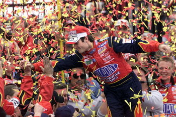 4 Mar 2001: Jeff Gordon celebrates after winning the NASCAR Winston Cup UAW DaimlerChrysler 400 at the Las Vegas Motor Speedway, Las Vegas, Nevada. Digital Image. Mandatory Credit: Jonathan Ferrey/ALLSPORT