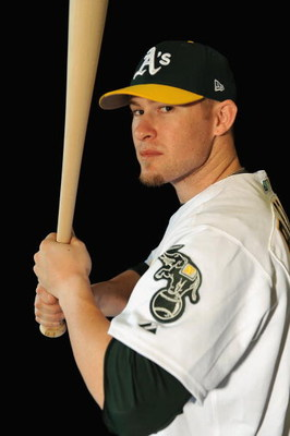 PHOENIX - FEBRUARY 22:  Daric Barton of the Oakland Athletics poses during photo day at the Athletics spring training complex on February 22, 2009 in Phoenix, Arizona.  (Photo by Ronald Martinez/Getty Images)
