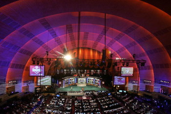 NEW YORK - APRIL 26:  A general view shows the stage during the during the 2008 NFL Draft on April 26, 2008 at Radio City Music Hall in New York City.  (Photo by Jim McIsaac/Getty Images)
