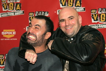 LOS ANGELES, CA - DECEMBER 08:  TV Personality Joe Rogan and UFC president Dana White pose in the press room during the 4th Annual Spike TV 2006 Video Game Awards held at The Galen Center on December 8, 2006 in Los Angeles, California.  (Photo by Frazer H