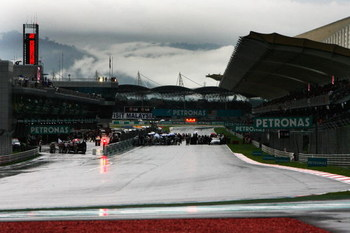 KUALA LUMPUR, MALAYSIA - APRIL 05:  Cars line up on the start finish straight as the race is red flagged and then abandoned due to heavy rain during the Malaysian Formula One Grand Prix at the Sepang Circuit on April 5, 2009 in Kuala Lumpur, Malaysia.  (P