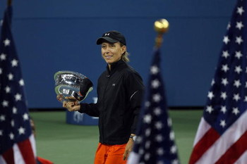 NEW YORK - SEPTEMBER 09:  Martina Navratilova holds the trophy after her and Bob Bryan defeated Kveta Peschke and Martin Damm of the Czech Republic to win the mixed doubles final during the U.S. Open at the USTA Billie Jean King National Tennis Center in