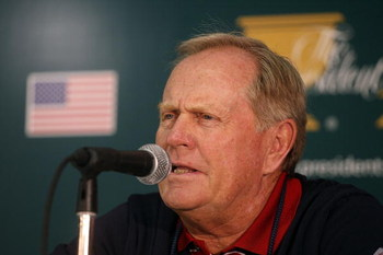 MONTREAL, QC - SEPTEMBER 26:  U.S. Team Captain Jack Nicklaus chats with the media about the first day's player pairings prior to the start of The Presidents Cup at The Royal Montreal Golf Club on September 26, 2007 in Montreal, Quebec, Canada.  (Photo by