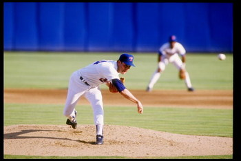 1990:  Pitcher Nolan Ryan of the Texas Rangers throws the ball. Mandatory Credit: Joe Patronite  /Allsport