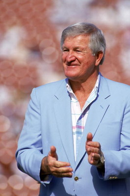 LOS ANGELES - NOVEMBER 11:  Hall of Famer and former Raiders quarterback, George Blanda, attends a game between the Green Bay Packers and the Los Angeles Raiders at the Los Angeles Memorial Coliseum on November 11, 1990 in Los Angeles, California.  The Pa