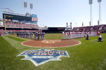 CINCINNATI - APRIL 4:  Players for the New York Mets and the Cincinnati Reds line up on the field for a moment of silence in rememberance of Pope John Paul before the start of their opening day ballgame on April 4, 2005 at Great American Ballpark in Cinci