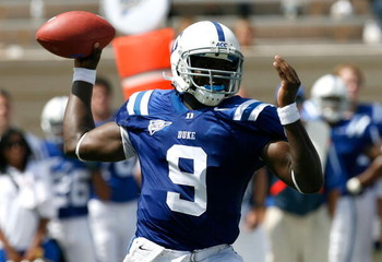 DURHAM, NC - SEPTEMBER 13:  Quarterback Thaddeus Lewis #9 of the Duke Blue Devils passes against the Navy Midshipmen during the game at Wallace Wade Stadium on September 13, 2008 in Durham, North Carolina.  (Photo by Kevin C. Cox/Getty Images)