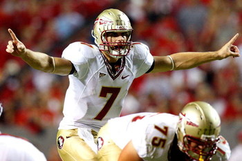 RALEIGH, NC - OCTOBER 16:  Quarterback Christian Ponder #7 of the Florida State Seminoles runs against the North Carolina State Wolfpack during the game at Carter-Finley Stadium on September 16, 2008 in Raleigh, North Carolina.  (Photo by Kevin C. Cox/Get