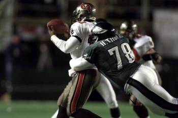 31 Dec 2000:  Hollis Thomas #78 of the Eagles sacks Bucs quarterback Shaun King #10 during the NFC Wild Card game between the Tampa Bay Buccaneers and the Philadelphia Eagles at Veterans Stadium in Philadelphia, Pennsylvania.  The Eagles defeated the Bucs