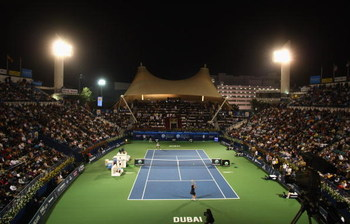 DUBAI, UNITED ARAB EMIRATES - FEBRUARY 21:  A general view of the Final during day seven of the WTA Barclays Dubai Tennis Championship at the Dubai Tennis Stadium on February 20, 2009 in Dubai, UAE.  (Photo by Tom Shaw/Getty Images)