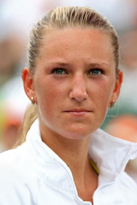 KEY BISCAYNE, FL - APRIL 04:  Victoria Azarenka of Belarus looksk on against Serena Williams during the women's final match of the Sony Ericsson Open at the Crandon Park Tennis Center on April 4, 2009 in Key Biscayne, Florida.  (Photo by Clive Brunskill/G