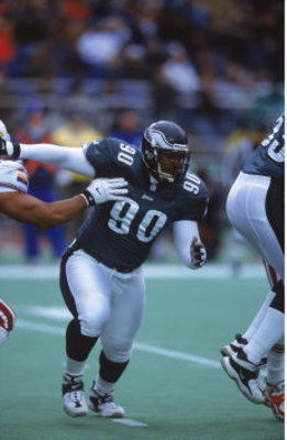 19 Nov 2000:  Corey Simon #90 of the Philadelphia Eagles moves on the field during the game against the Arizona Cardinals at the Veterans Stadium in Philadelphia, Pennsylvania. The Eagles defeated the Cardinals 34-9.Mandatory Credit: Greg Fiume  /Allsport