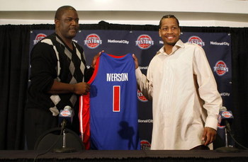 AUBURN HILLS, MI - NOVEMBER 04:  Allen Iverson #1 of the Detroit Pistons is introduced at press conference by President of Basketball Operations Joe Dumars after being traded from the Denver Nuggets on November 4, 2008 at the Palace of Auburn Hills in Aub