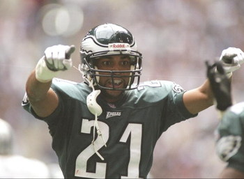 3 Nov 1996:  Cornerback Bobby Taylor of the Philadelphia Eagles celebrates during a game against the Dallas Cowboys at Texas Stadium in Irving, Texas.  The Eagles won the game 31-21. Mandatory Credit: Brian Bahr  /Allsport
