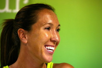 KEY BISCAYNE, FL - MARCH 25:  Jelena Jankovic of Serbia during day three of the Sony Ericsson Open at The Crandon Park Tennis Center on March 25, 2009 in Key Biscayne, Florida.  (Photo by Al Bello/Getty Images)