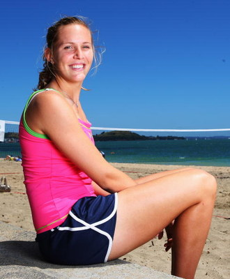 AUCKLAND, NEW ZEALAND - JANUARY 01:  ASB Classic tennis player Nicole Vaidisova pictured following a game of Beach Tennis on Mission Bay Beach January 01, 2009 in Auckland, New Zealand. The ASB Classic Tennis Tournament begins in Auckland on Monday at the