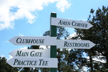AUGUSTA, GA - APRIL 07:  Direction signs are seen during a practice round prior to the 2009 Masters Tournament at Augusta National Golf Club on April 7, 2009 in Augusta, Georgia.  (Photo by David Cannon/Getty Images)