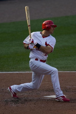 ST. LOUIS, MO - JULY 5: Rick Ankiel #24 of the St. Louis Cardinals gets the game winning single against the Chicago Cubs on July 5, 2008 at Busch Stadium in St. Louis, Missouri.  The Cards beat the Cubs 5-4.  (Photo by Dilip Vishwanat/Getty Images)