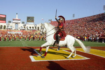 LOS ANGELES - SEPTEMBER 16:  Traveler, mascot of the USC Trojans runs on the field before the game against the Nebraska Cornhuskers on September 16, 2006 at the Los Angeles Memorial Coliseum in Los Angeles, California. (Photo by Stephen Dunn/Getty Images)