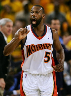 OAKLAND, CA - MAY 13:  Baron Davis #5 of the Golden State Warriors reacts to a call by a referee in Game 4 of the Western Conference Semifinals against the Utah Jazz during the 2007 NBA Playoffs on May 13, 2007 at Oracle Arena in Oakland, California. NOTE