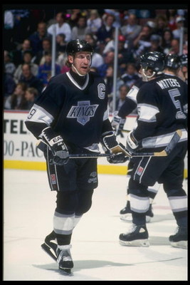 26 Dec 1993:  Center Wayne Gretzky of the Los Angeles Kings looks on during a game against the Anaheim Mighty Ducks at Arrowhead Pond in Anaheim, California. Mandatory Credit: J.D. Cuban  /Allsport