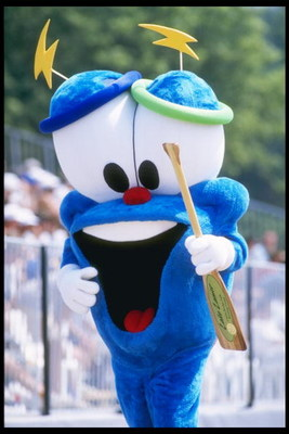 24 Jun 1995:  Izzy the Olympic Mascot holds an oar during the US Rowing Championships in Lake Lanier, Georgia. Mandatory Credit: Jamie Squire  /Allsport
